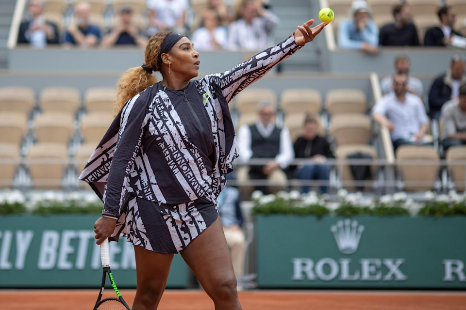 "PARIS, FRANCE May 27.  Serena Williams of the United States warming up before her match against Vitalia Diatchenko of Russia on Court Philippe-Chatrier in the Women""u2019s Singles first round match at the 2019 French Open Tennis Tournament at Roland Garros on May 27th 2019 in Paris, France. (Photo by Tim Clayton/Corbis via Getty Images)"