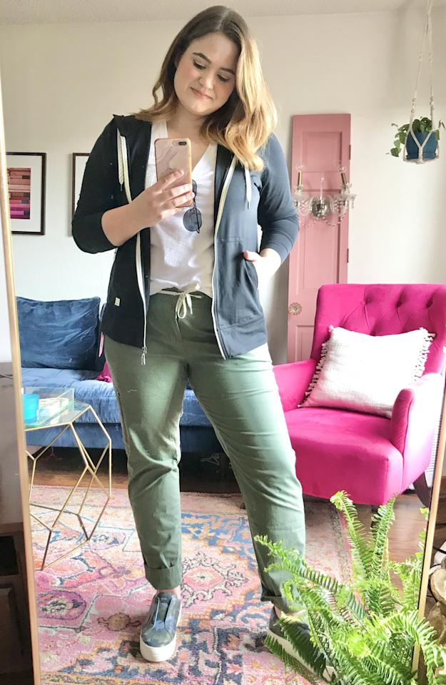 """<p><strong>The Pieces in My Trunk:</strong> <a href=""""https://www.popsugar.com/buy/Vuori-Ripstop-Pants-578663?p_name=Vuori%20Ripstop%20Pants&retailer=shop.nordstrom.com&pid=578663&price=89&evar1=fab%3Aus&evar9=47518852&evar98=https%3A%2F%2Fwww.popsugar.com%2Fphoto-gallery%2F47518852%2Fimage%2F47518856%2FWeekend-Errands&list1=reviews%2Cshopping%2Cnordstrom%2Ceditors%20pick%2Cproduct%20reviews%2Csubscription%20boxes%2Cfashion%20shopping%2Cstaying%20home&prop13=api&pdata=1"""" rel=""""nofollow"""" data-shoppable-link=""""1"""" target=""""_blank"""" class=""""ga-track"""" data-ga-category=""""Related"""" data-ga-label=""""https://shop.nordstrom.com/s/vuori-ripstop-pants/5459429?origin=keywordsearch-personalizedsort&amp;breadcrumb=Home%2FAll%20Results&amp;color=army"""" data-ga-action=""""In-Line Links"""">Vuori Ripstop Pants</a> ($89)<br> <a href=""""https://www.popsugar.com/buy/Vuori-Performance-Zip-Front-Hoodie-578664?p_name=Vuori%20Performance%20Zip%20Front%20Hoodie&retailer=shop.nordstrom.com&pid=578664&price=89&evar1=fab%3Aus&evar9=47518852&evar98=https%3A%2F%2Fwww.popsugar.com%2Fphoto-gallery%2F47518852%2Fimage%2F47518856%2FWeekend-Errands&list1=reviews%2Cshopping%2Cnordstrom%2Ceditors%20pick%2Cproduct%20reviews%2Csubscription%20boxes%2Cfashion%20shopping%2Cstaying%20home&prop13=api&pdata=1"""" rel=""""nofollow"""" data-shoppable-link=""""1"""" target=""""_blank"""" class=""""ga-track"""" data-ga-category=""""Related"""" data-ga-label=""""https://shop.nordstrom.com/s/vuori-performance-zip-front-hoodie/5093598?origin=keywordsearch-personalizedsort&amp;breadcrumb=Home%2FAll%20Results&amp;color=black"""" data-ga-action=""""In-Line Links"""">Vuori Performance Zip Front Hoodie</a> ($89)<br> <a href=""""https://www.popsugar.com/buy/Madewell-Whisper-Cotton-V-Neck-Tank-578660?p_name=Madewell%20Whisper%20Cotton%20V-Neck%20Tank&retailer=shop.nordstrom.com&pid=578660&price=19&evar1=fab%3Aus&evar9=47518852&evar98=https%3A%2F%2Fwww.popsugar.com%2Fphoto-gallery%2F47518852%2Fimage%2F47518856%2FWeekend-Errands&list1=reviews%2Cshopping%2Cnordstrom%2Ceditors%20pick%2Cproduct%2"""