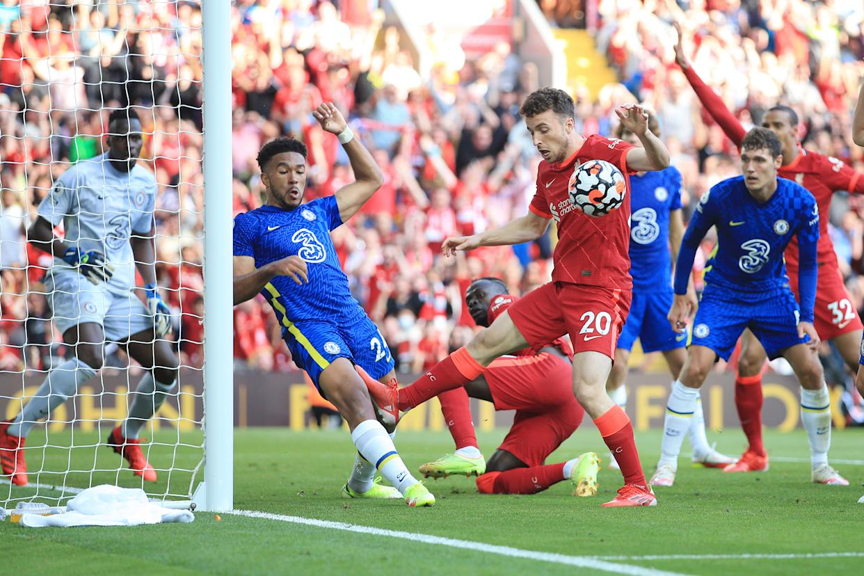 Diogo Jota of Liverpool battles with Reece James of Chelsea on the Chelsea before James was red-carded.
