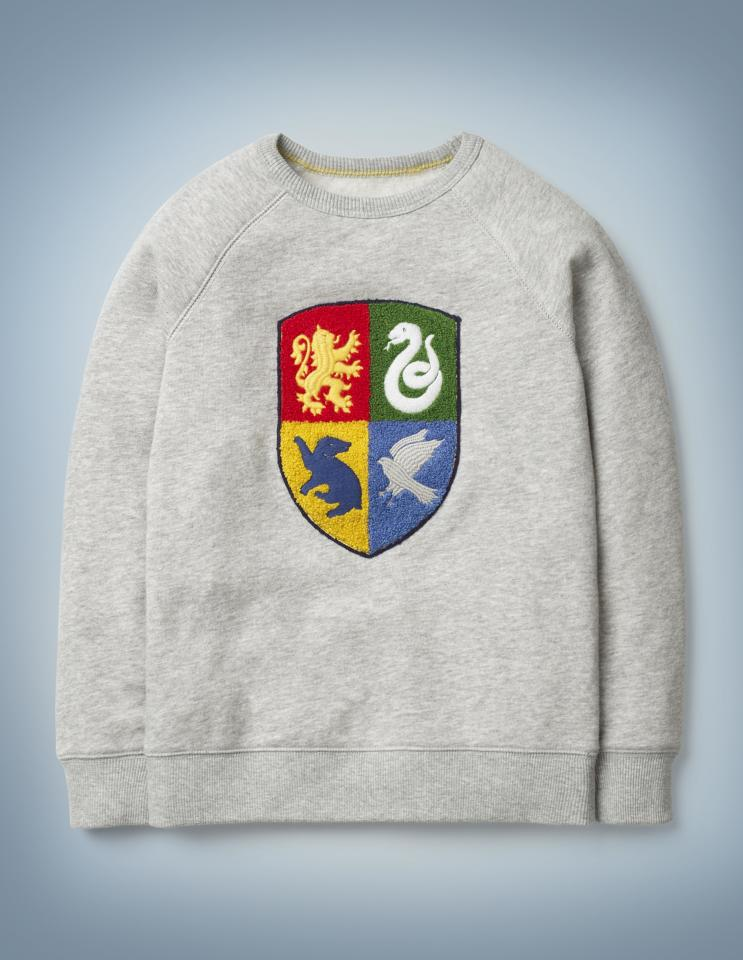 "<p>For when the little one hasn't decided which house they belong to but still wants to represent the magical school of Hogwarts.</p> <p><strong>To buy:</strong> $48, <a href=""https://click.linksynergy.com/deeplink?id=93xLBvPhAeE&mid=40372&murl=https%3A%2F%2Fwww.bodenusa.com%2Fen-us%2Fhogwarts-crest-sweatshirt-grey-marl%2Fsty-b0870-gry%3Fcat%3DC1_S13_G1365&u1=RS%2CMiniBodenJustLaunchedaHarryPotterCollection%2Cnunezf%2CCLO%2CIMA%2C670325%2C201908%2CI"" target=""_blank"">bodenusa.com.</a></p>"