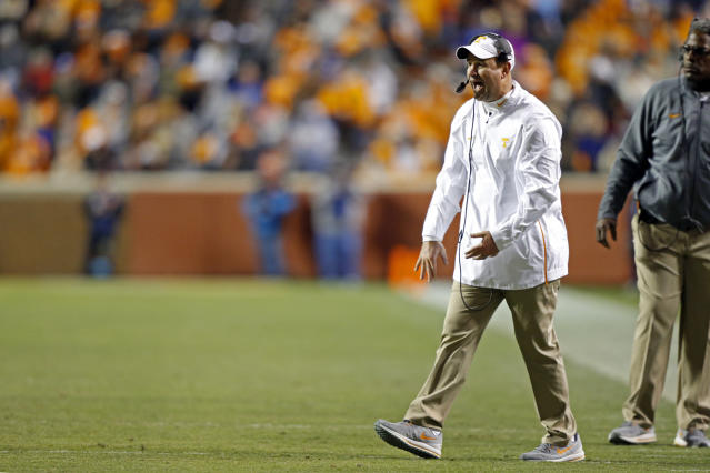 Tennessee had to self-report a minor NCAA violation after Jeremy Pruitt congratulated his alma mater for winning a state title. (AP Photo/Wade Payne)
