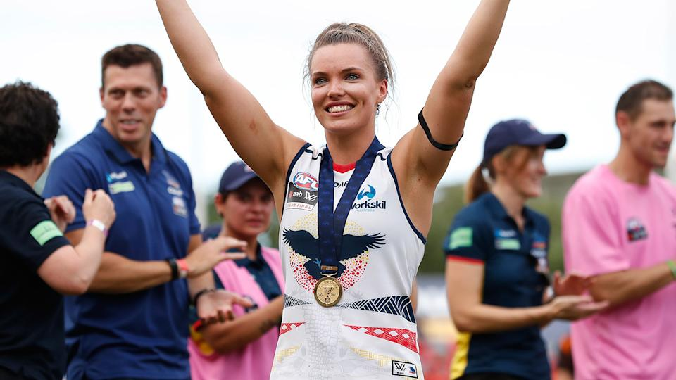 Abbey Holmes, pictured here after the 2017 AFLW Grand Final.