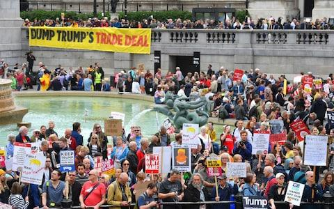 Protesters gather in Trafalgar Square - Credit: Jacob King/PA