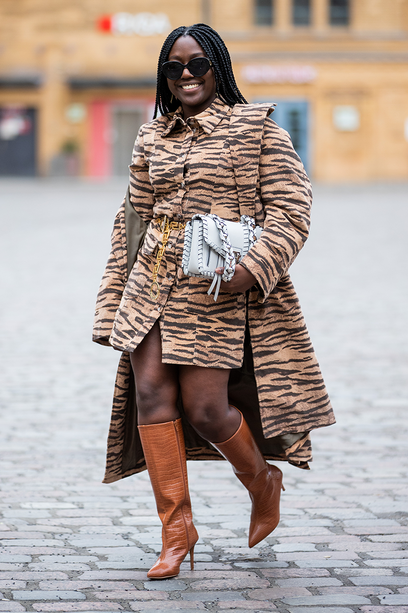 <p>Alternatively, high heel boots are also fab for elevating co-ords like this neutral zebra situation.</p>