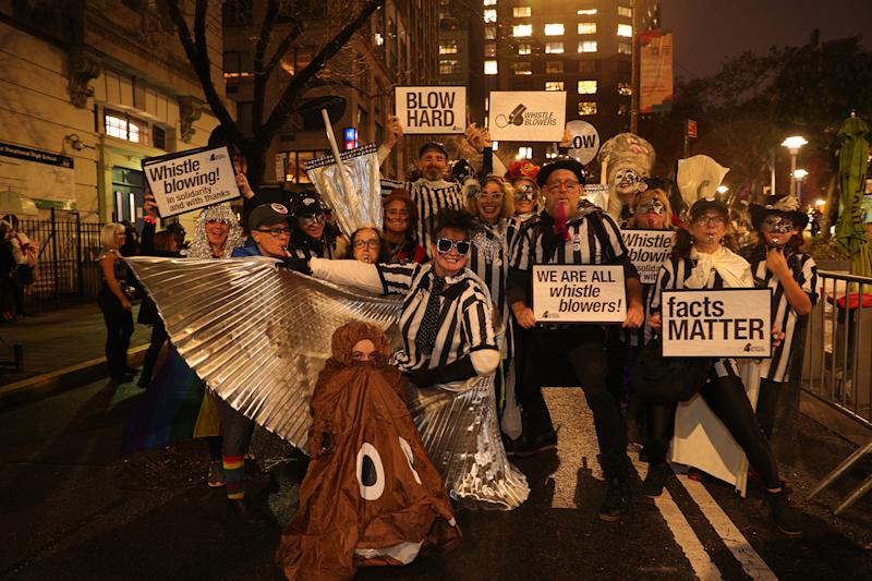 People dressed in political costumes to the 46th annual Village Halloween Parade in New York City. (Gordon Donovan/Yahoo News)