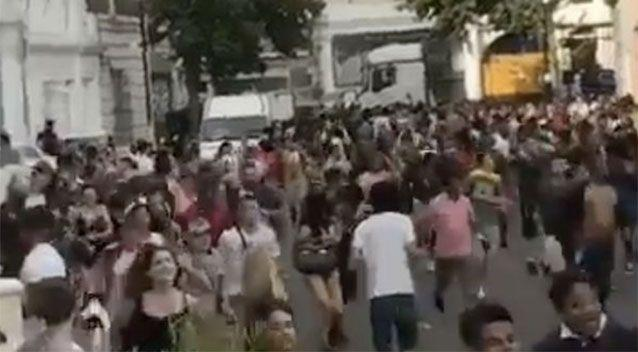 Revellers filmed running away after hearing there had been an acid attack. Source: Snapchat/Rastamouse88