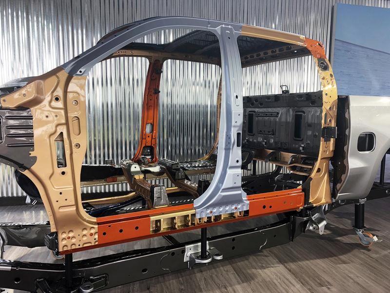 FILE PHOTO: The skeleton of a 2019 Chevrolet Silverado on display at an event in Jackson Hole