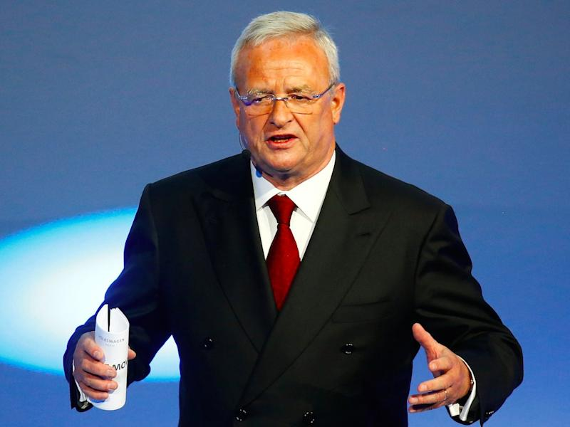Volkswagen CEO Martin Winterkorn gives his closing speech during the Volkswagen group night ahead of the Frankfurt Motor Show (IAA) in Frankfurt, Germany, September 14, 2015.