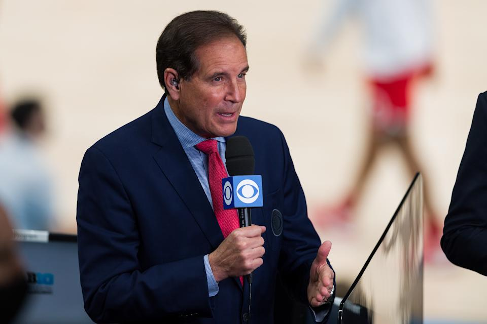 INDIANAPOLIS, IN - MARCH 13: CBS Sports broadcaster Jim Nantz during the men's Big Ten tournament college basketball game between the Michigan Wolverines and Ohio State Buckeyes on March 13, 2021, at Lucas Oil Stadium in Indianapolis, IN. (Photo by Zach Bolinger/Icon Sportswire via Getty Images)