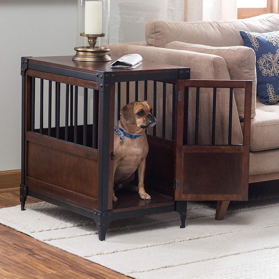 """<p>This <a href=""""https://www.popsugar.com/buy/Boomer%20%26amp%3B%20George%20Wooden%20Pet%20Crate%20End%20Table-434014?p_name=Boomer%20%26amp%3B%20George%20Wooden%20Pet%20Crate%20End%20Table&retailer=amazon.com&price=180&evar1=moms%3Aus&evar9=46016697&evar98=https%3A%2F%2Fwww.popsugar.com%2Ffamily%2Fphoto-gallery%2F46016697%2Fimage%2F46016797%2FBoomer-George-Wooden-Pet-Crate-End-Table&list1=dogs&prop13=api&pdata=1"""" rel=""""nofollow noopener"""" target=""""_blank"""" data-ylk=""""slk:Boomer & George Wooden Pet Crate End Table"""" class=""""link rapid-noclick-resp"""">Boomer & George Wooden Pet Crate End Table</a> ($180) has a cool, industrial feel thanks to its metal accents.</p>"""