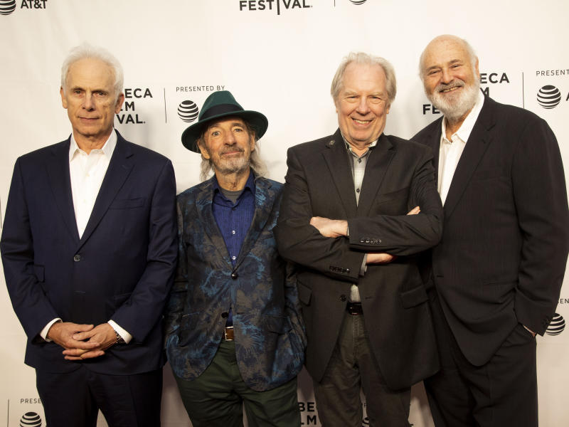 """Christopher Guest, from left, Harry Shearer, Michael McKean and Rob Reiner attend the 35th anniversary screening for """"This is Spinal Tap"""" during the 2019 Tribeca Film Festival at the Beacon Theatre on Saturday, April 27, 2019, in New York. (Photo by Andy Kropa/Invision/AP)"""