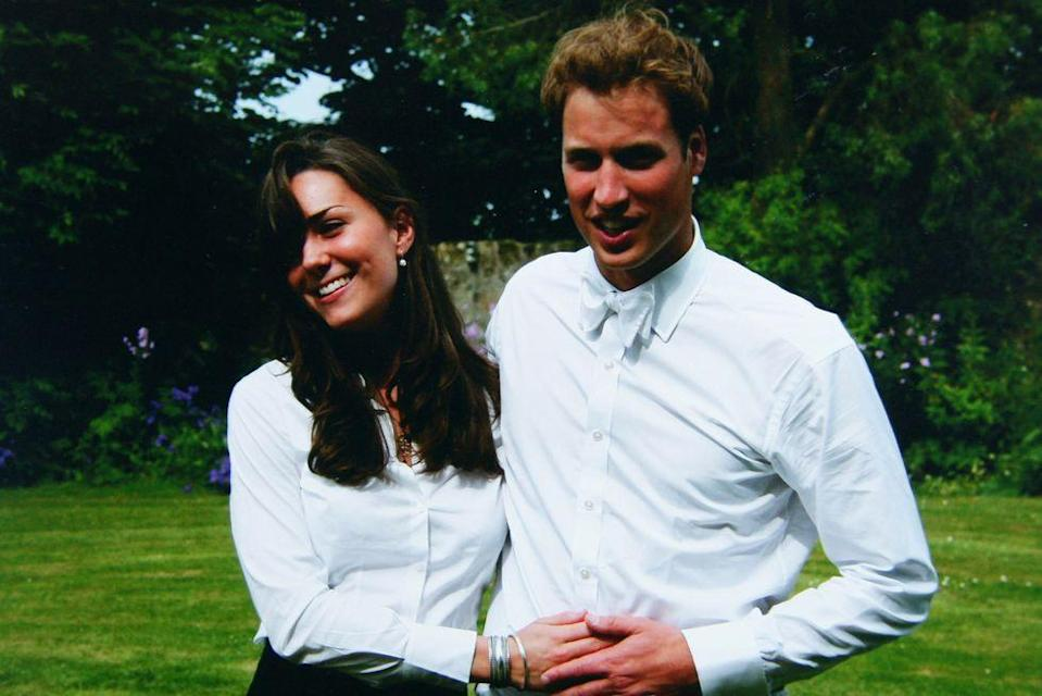 <p>The pair were photographed beaming on their graduation day, wearing crisp whites in the gardens of St. Andrew's. </p>