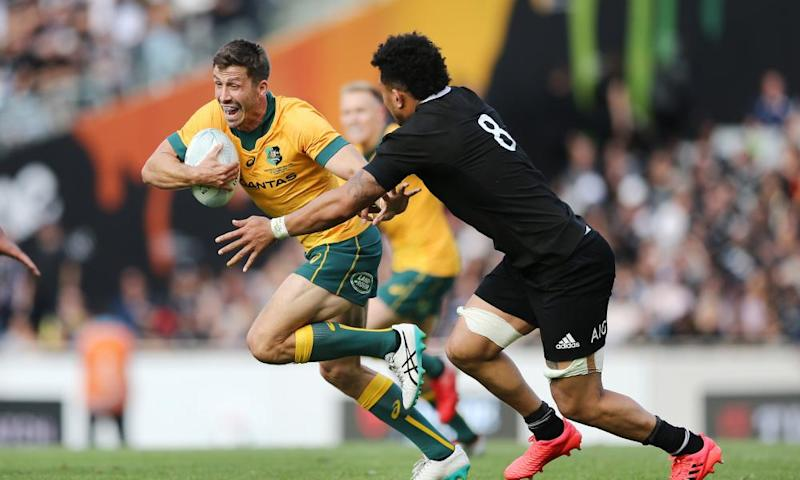 Jake Gordon of the Wallabies makes a run against Ardie Savea of the All Blacks during the Bledisloe Cup match between the All Blacks and the Wallabies at Eden Park.