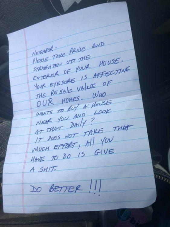 note telling neighbor to clean up the exterior of her house