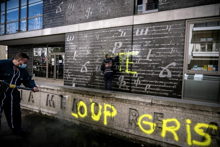 """The National Armenian Memorial Centre was daubed with the giant letters """"RTE"""" in reference to Turkish President Recep Tayyip Erdogan and with the words """"Grey Wolves"""", a prominent Turkish nationalist movement, in French"""