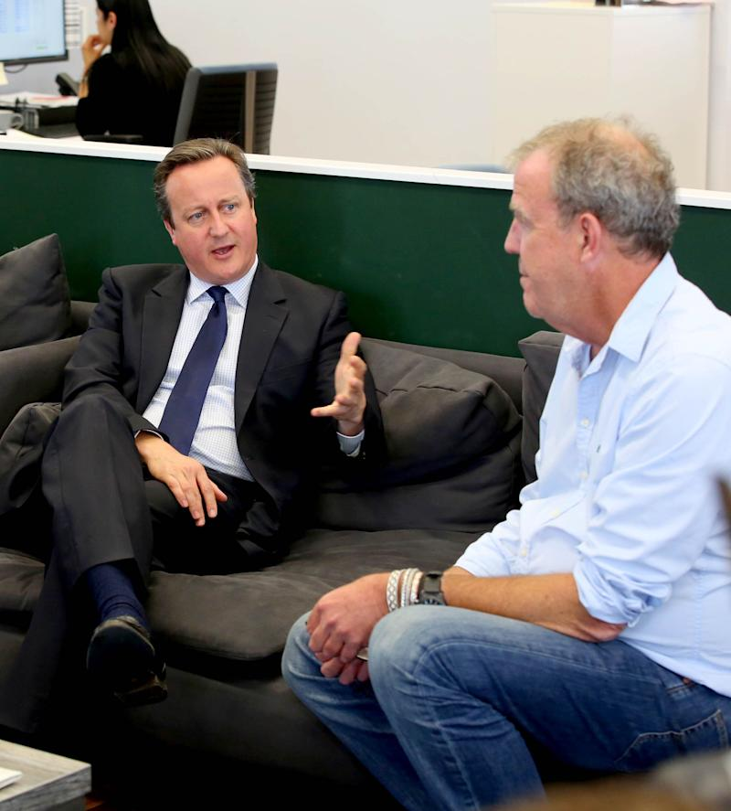 Then-PM David Cameron meets Jeremy Clarkson during an EU-related visit to W. Chump & Sons Ltd TV studio in west London in 2016 (Photo: PA)