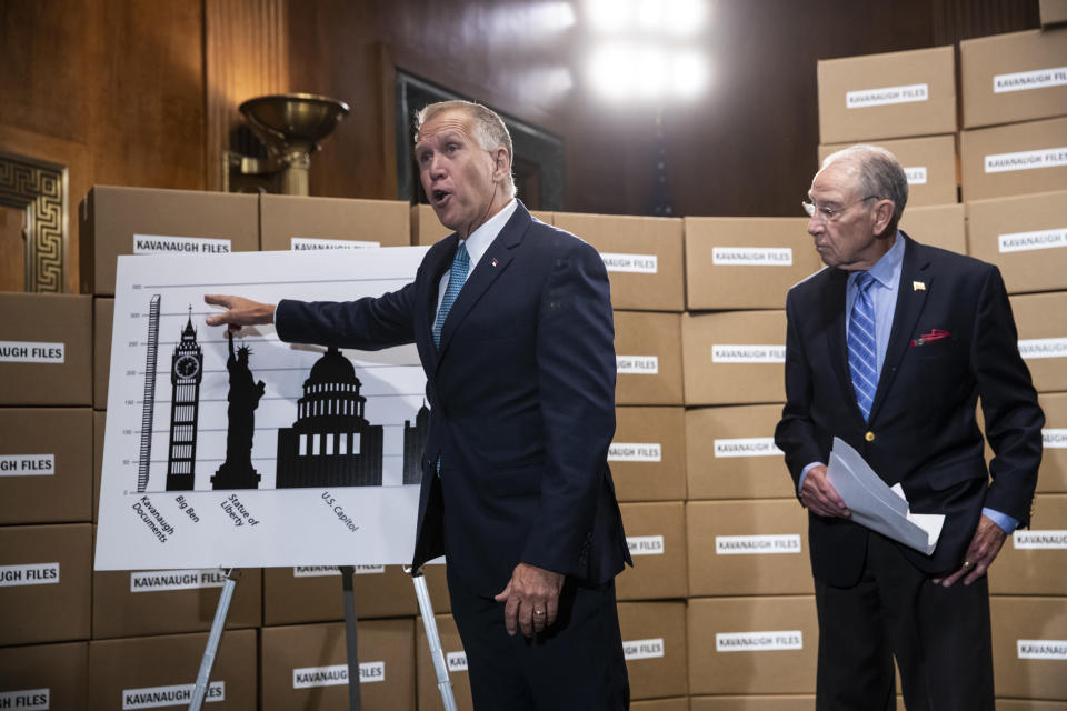 """<span class=""""s1"""">Sen. Thom Tillis, R-N.C., and Senate Judiciary Chairman Chuck Grassley, R-Iowa, display a wall of empty boxes and charts to dramatize the amount of documents Democrats have requested. (Photo: J. Scott Applewhite/AP)</span>"""