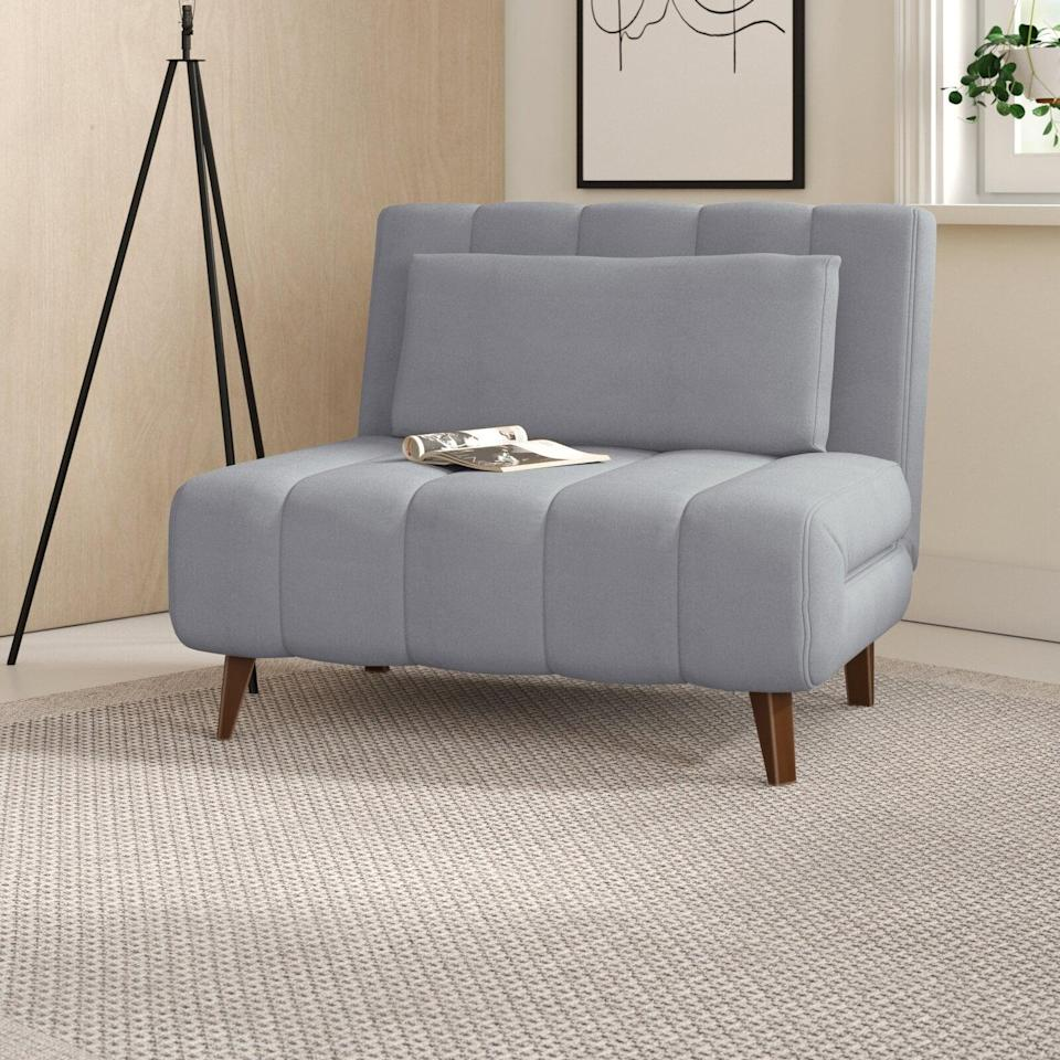 <p>Next an extra sleeping space? Get the cool <span>New London Wide Tufted Polyester Convertible Chair</span> ($330, originally $350).</p>