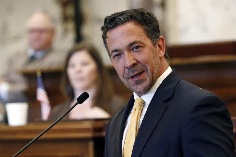 Sen. Chris McDaniel, R-Ellisville, speaks against a bill to change the state flag, Sunday, June 28, 2020, at the Capitol in Jackson, Miss. Lawmakers in both chambers voted to surrender the Confederate battle emblem from the state flag. Republican Gov. Tate Reeves has said he will sign the bill. (AP Photo/Rogelio V. Solis)