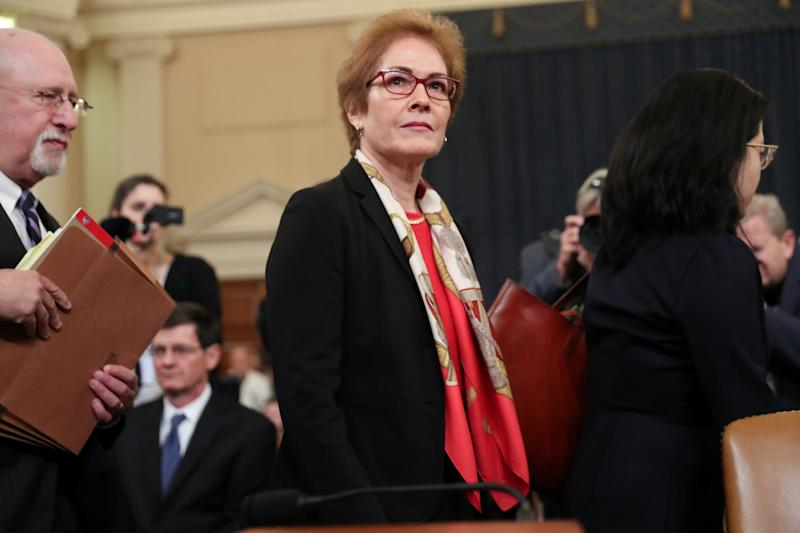 Marie Yovanovitch, former US ambassador to Ukraine, after testifying at the impeachment hearings into Donald Trump: REUTERS