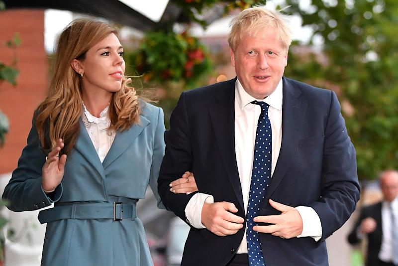 Johnson and Symonds, pictured here at the Conservative Party Conference in September 2019, announced their engagement and baby news simultaneously at the end of February 2020. (Getty Images)