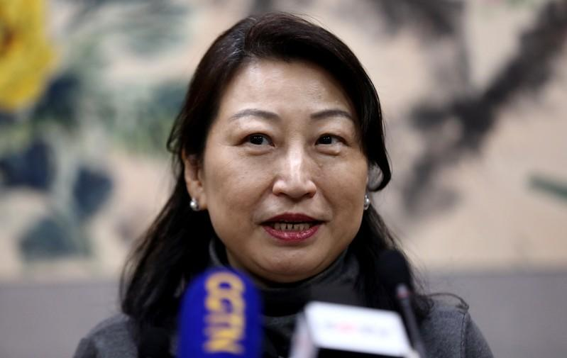 Hong Kong Secretary for Justice Teresa Cheng speaks during a news conference at the Chinese Embassy in London