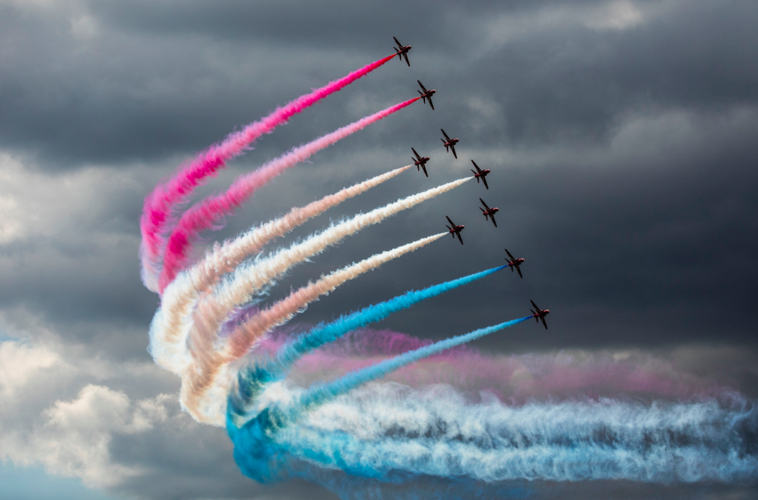 <p>The Red Arrows put on a patriotic display at the Royal International Air Tattoo. (Pic: PA) </p>