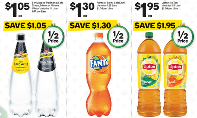 Soft drinks selling for half-price at Woolworths.