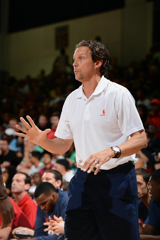 LAS VEGAS, NV - JULY 14: Quin Snyder, assistant coach of the Atlanta Hawks, calls a play against the Miami Heat during NBA Summer League on July 14, 2013 at the Cox Pavilion in Las Vegas, Nevada. (Photo by Garrett W. Ellwood/NBAE via Getty Images)