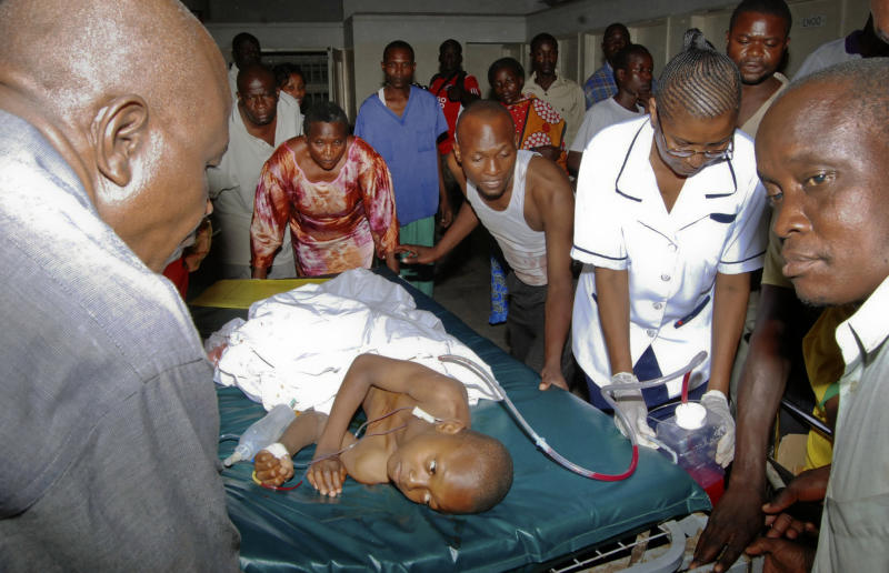 A child who was injured by an explosion at a bar in the Mishomoroni district of Mombasa, which police at the scene said was a grenade attack, is treated at the Coast General Hospital in Mombasa, Kenya late Sunday, June 24, 2012. The explosion comes after the U.S. Embassy in Kenya on Friday warned of an imminent threat of a terrorist attack in Mombasa and said all U.S. government personnel had to leave the city. (AP Photo)