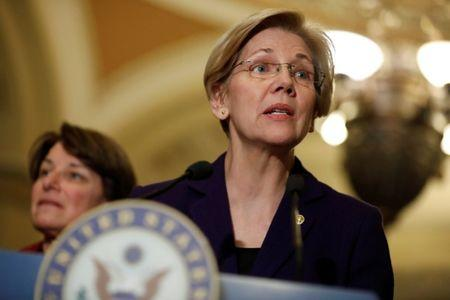 Sen. Elizabeth Warren (D-MA) speaks with the media following the Democratic policy luncheon on Capitol Hill in Washington