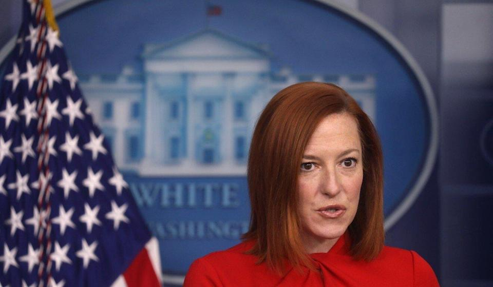 White House Press Secretary Jen Psaki at the daily briefing in Washington on Wednesday. Photo: Reuters