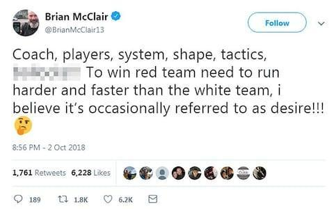 <span>Brian McClair tweeted his anger at United</span> <span>Credit: twitter </span>
