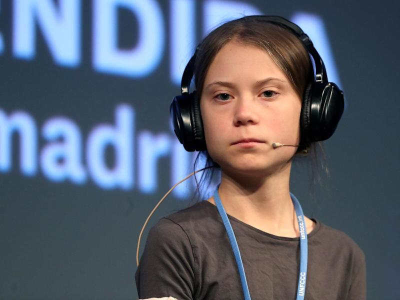 Greta Thunberg attends a press conference during the fifth day of the UN Climate Change Conference COP25 at the Casa Encendida cultural place in Madrid, Spain: EPA