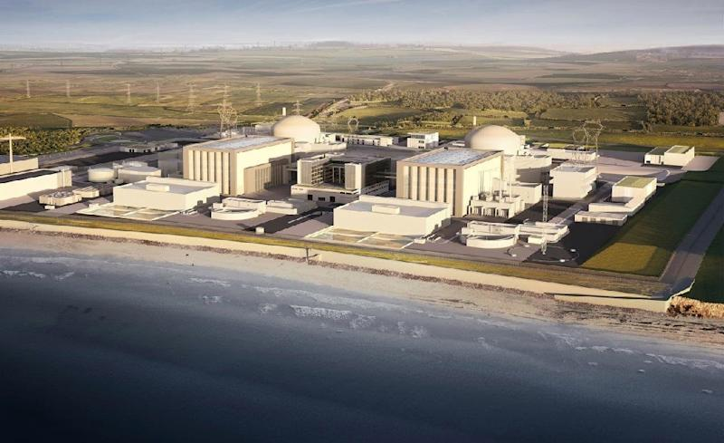 A computer-generated image released by EDF Energy on July 28, 2016 shows the firms two proposed nuclear reactors at Hinkley Point in southwest England (AFP Photo/)