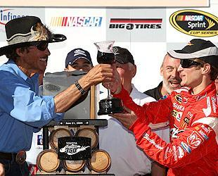 Richard Petty celebrated Kasey Kahne's victory in Sonoma with a glass of wine