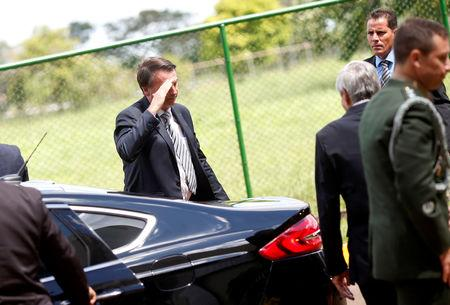 Brazil's President Jair Bolsonaro salutes as he arrives to a meeting at the Secretariat of Security and Coordination Presidential Cabinet in Brasilia Brazil