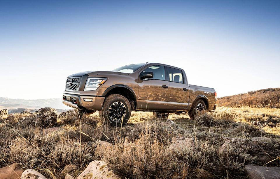 "<p>If the XD is too much, then there's the half-ton <a href=""https://www.caranddriver.com/nissan/titan"" rel=""nofollow noopener"" target=""_blank"" data-ylk=""slk:Nissan Titan"" class=""link rapid-noclick-resp"">Nissan Titan</a> Pro-4X, powered by Nissan's 5.6-liter V-8. The Pro-4X model includes four-wheel drive with a two-speed transfer case, an electronic locking rear differential, Bilstein dampers, hill-descent control, and all-terrain tires. It features better approach, break-over, and departure angles than other Titans, and there are plenty of skid plates that protect the lower radiator, oil pan, transfer case, and fuel tank. The Pro-4X is built to survive, if it's not quite as robust as the XD.</p>"