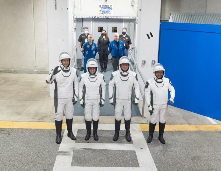 The new crew (from left to right): European Space Agency astronaut Thomas Pesquet, NASA's Megan McArthur and Shane Kimbrough, and Japan Aerospace Exploration Agency's Akihiko Hoshide