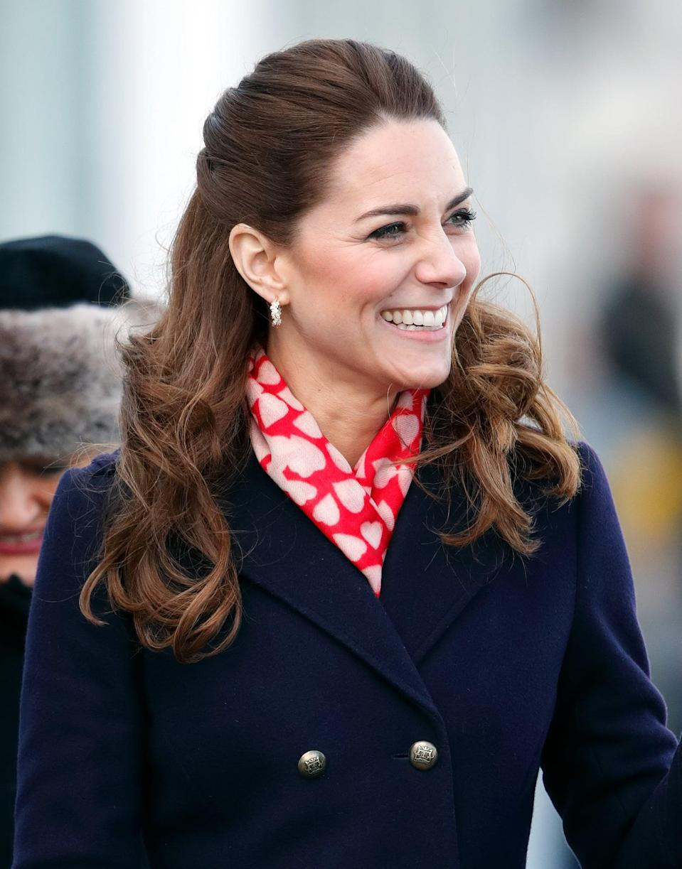 <p>Just days before in South Wales was when Kate first experimented with a half-up look, this time around adding more curl through the ends. </p>