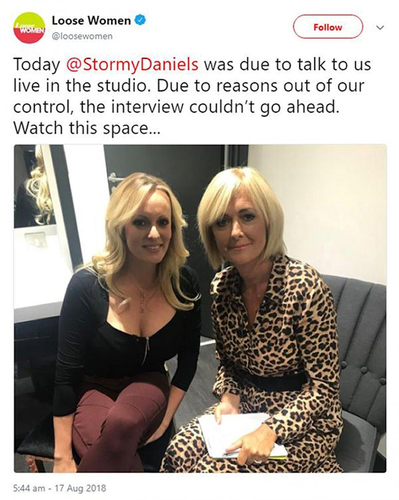 Stormy Daniels speaking to panellist Jane Moore before she pulled out of an appearance on Loose Women (PA)