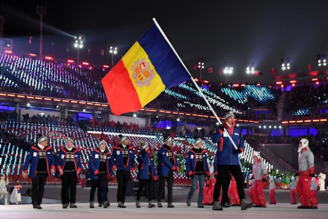 <p>Flag bearer Irineu Esteve Altimiras of Andorra and teammates arrive at the stadium during the Opening Ceremony of the PyeongChang 2018 Winter Olympic Games at PyeongChang Olympic Stadium on February 9, 2018 in Pyeongchang-gun, South Korea. (Photo by Matthias Hangst/Getty Images) </p>