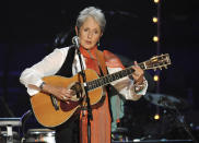FILE - In this May 3, 2009 file photo, Joan Baez performs at a benefit concert celebrating Pete Seeger's 90th birthday at Madison Square Garden in New York. Baez, the late rapper Tupac Shakur, as well as Seattle-based rockers Pearl Jam lead a class of Rock and Roll Hall of Fame inductees that also include 1970s favorites Journey, Yes and Electric Light Orchestra. The hall's 32nd annual induction ceremony will take place on April 7, 2016, at Barclays Center in Brooklyn, N.Y. (Photo by Evan Agostini/Invision/AP, File)