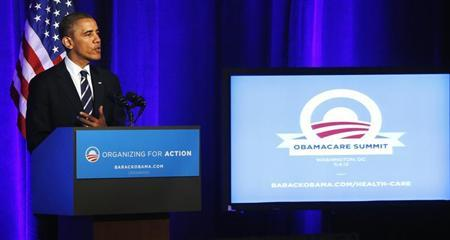 U.S. President Obama delivers remarks on Obamacare at an Organizing for Action grassroots supporter event in Washington