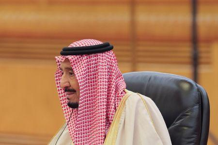 Saudi Arabia's King Salman bin Abdulaziz Al-Saud looks on during the meeting with China's President Xi Jinping (not pictured) at the Great Hall of the People in Beijing