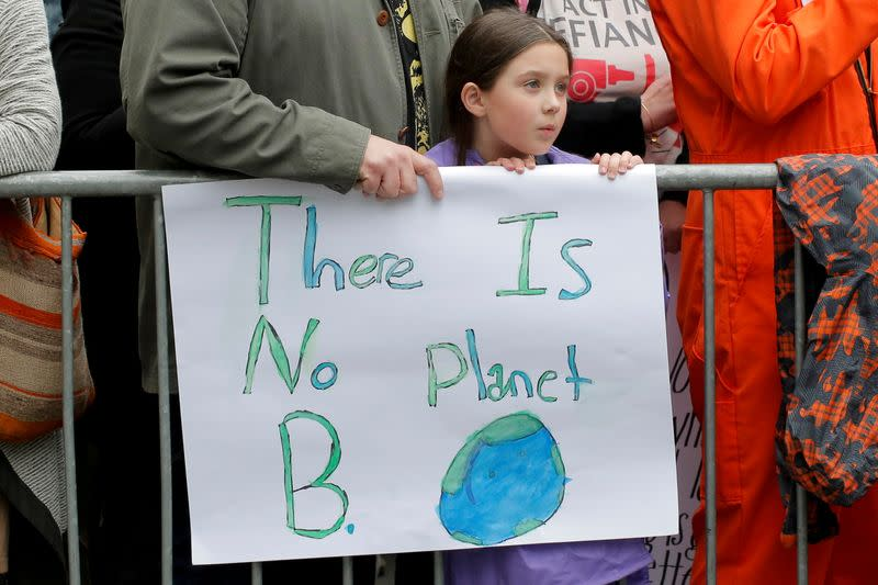 FILE PHOTO: Protesters line Central Park West during the Earth Day 'March For Science NYC' demonstration to coincide with similar marches globally in Manhattan, New York, U.S.