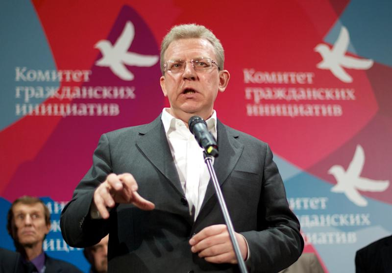 Russia's former finance minister Alexei Kudrin speaks during a news conference in Moscow, Russia, Thursday, April 5, 2012. Russia's former finance minister on Thursday announced the creation of an independent committee to shape policies alternative to those of the government. Kudrin resigned last year over a disagreement with then President Dmitry Medvedev, and threw his support behind the emerging opposition movement. (AP Photo/Ivan Sekretarev)