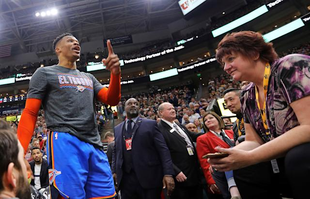 "Thunder star <a class=""link rapid-noclick-resp"" href=""/nba/players/4390/"" data-ylk=""slk:Russell Westbrook"">Russell Westbrook</a> confronted a <a class=""link rapid-noclick-resp"" href=""/nba/teams/utah/"" data-ylk=""slk:Utah Jazz"">Utah Jazz</a> fan during Monday night's game. (AP)"