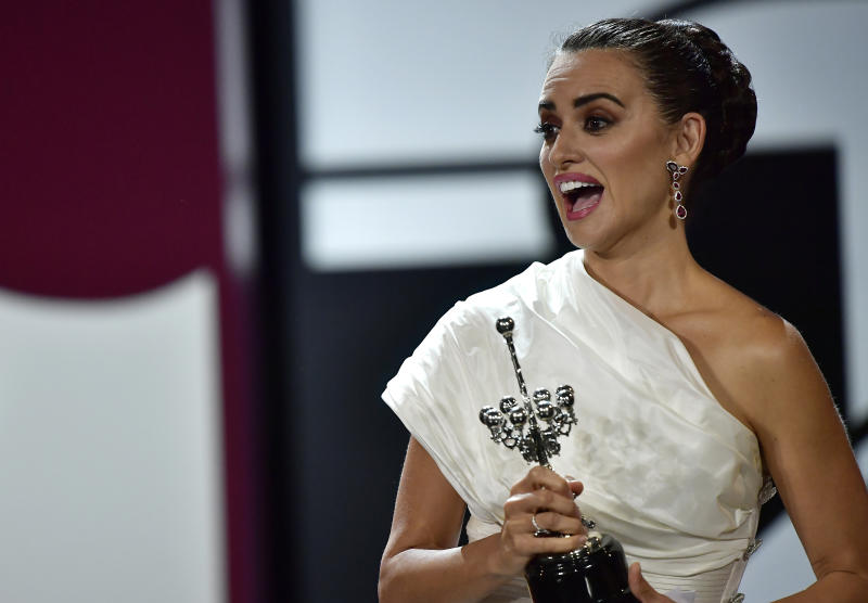 Actress Penelope Cruz holds the Donostia Award during an award ceremony at the 67th San Sebastian Film Festival, in San Sebastian, northern Spain Friday, Sept. 27, 2019. (AP Photo/Alvaro Barrientos)