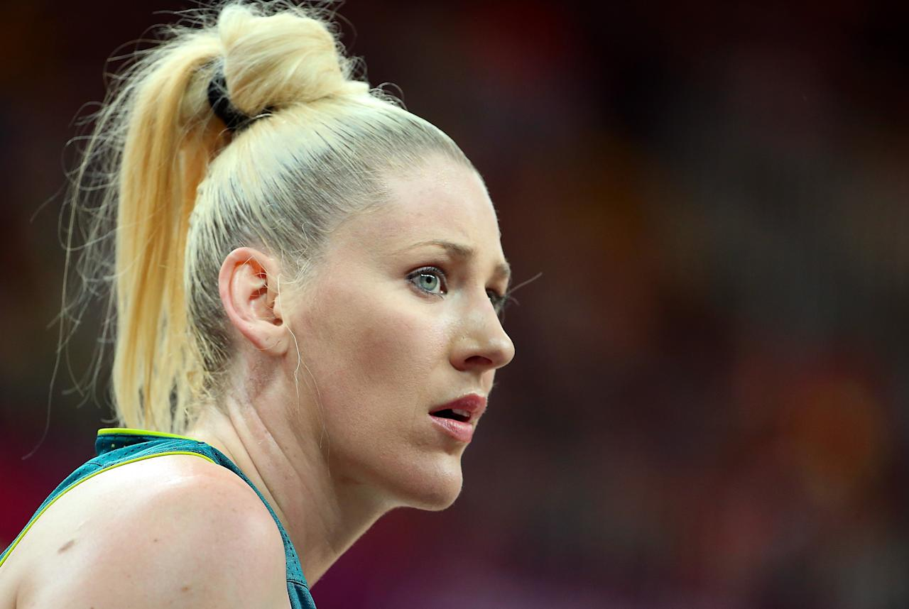 LONDON, ENGLAND - JULY 30:  Lauren Jackson #15 of Australia watches a free throw shot during the Women's Preliminary Round match against France on Day 3 at Basketball Arena on July 30, 2012 in London, England.  (Photo by Christian Petersen/Getty Images)